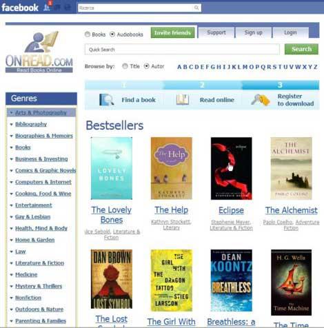 Applicazione Facebook per leggere e scaricare e-book