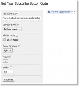 """Bottone """"ricevi gli aggiornamenti"""" di Facebook"""