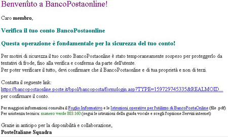 bancopostaonline Altra email frode BancoPostaonline