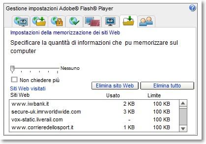 Visualizzare i siti memorizzati dal Flash Player
