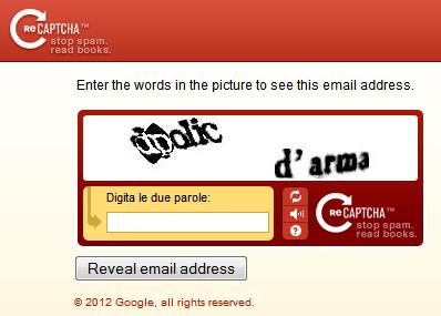 Proteggere gli indirizzi email dallo spam con reCAPTCHA Mailhide